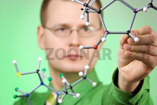 close up portrait of young chemist
