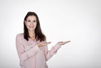 businesswoman presenting with two hands