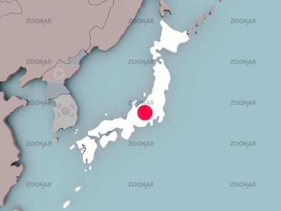 Japan on political globe with flag