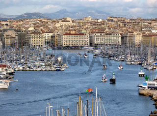 View of the old port of Marseilles