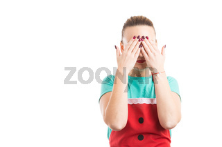 Domestic housewife covering her eyes