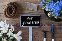 Spring Flowers, Sign, Wir Gratulieren Means Congratulations