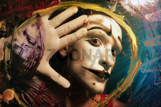 Face of Mime behind glass with multi-colored paint stains