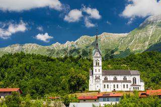Dreznica church under Julian Alps in Triglav Park, Slovenia