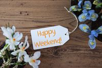 Flowers, Label, Text Happy Weekend