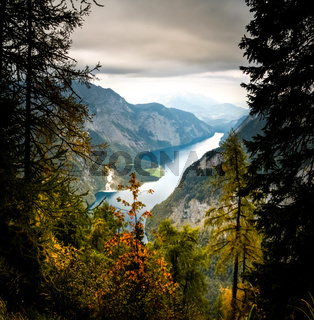Colorful trees with mountains and lake. National Park Berchtesgaden.