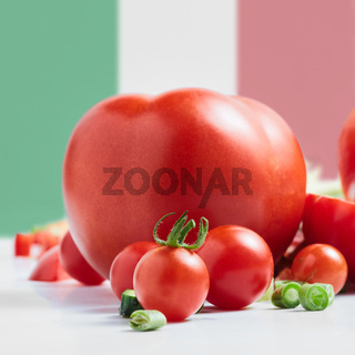 Traditional Italian flag with tomatoes