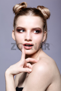 Young teen female beauty portrait with day makeup