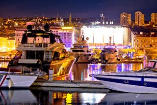 City of Rijeka yachting waterfront evening view