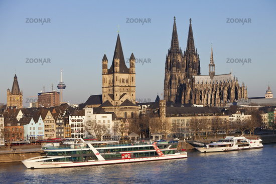 cityscape with river Rhine, Great St. Martin Church and Cologne Cathedral, Cologne, Germany, Europe