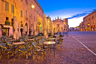 Mantova city Piazza Sordello evening view