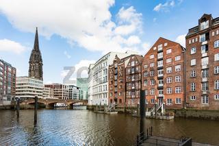 waterfront of Nikolaifleet canal in Hamburg city
