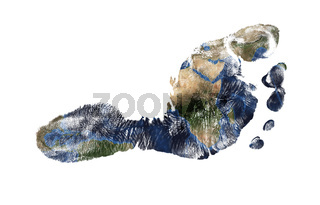 Real imprint of child foot with a world map isolated on white background