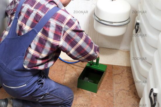 plumber is filling in