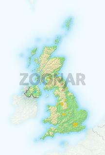 Grossbritannien, Reliefkarte.
