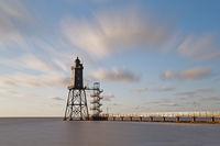 Lighthouse Obereversand, fishing port of Dorum-Neufeld, Lower Saxony, Germany, Europe