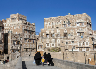streetscene in downtown sanaa city old town in yemen