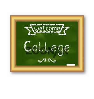 School blackboard with text, on white background