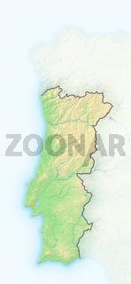 Portugal , Reliefkarte.