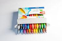 Mixed group of wax crayons several colors