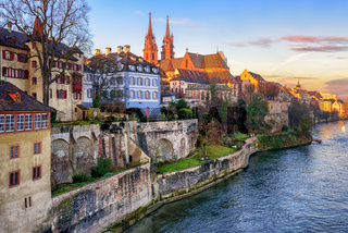 Old town of Basel with Munster cathedral facing the Rhine river, Switzerland