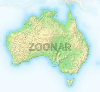 Australien, Reliefkarte.
