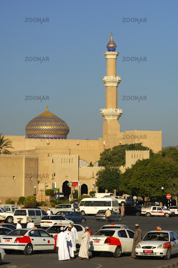 Taxi drivers waiting for customers in front of the Great Mosque