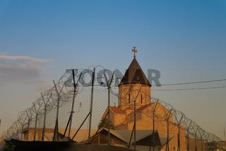 Armenian church behind barbed wire, Baghdad Iraq