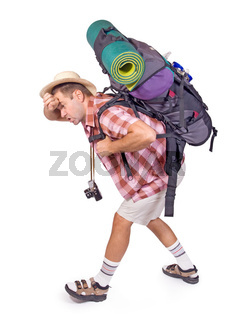 way-worn hiker with backpack