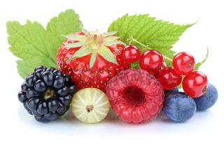 Beeren Erdbeeren Blaubeeren Himbeeren Johannisbeeren frische Früchte Blätter Freisteller freigestellt