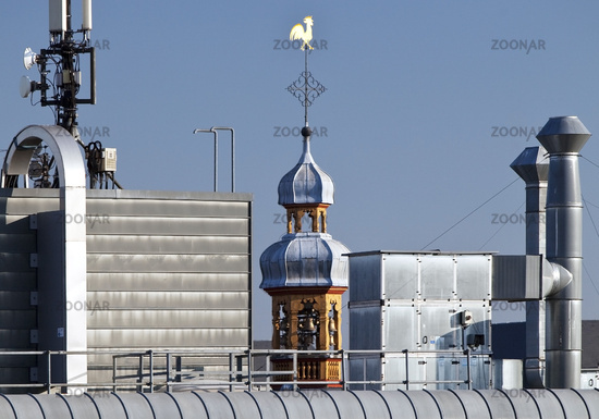 roofscape with parking level and steeple of St. Maria in der Kupfergasse, Cologne, Germany