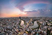 Beautiful sunset in saigon/hochiminh city, viet nam