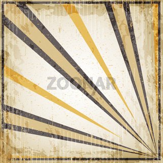 Halloween vintage art deco background - black and orange rays, old paper.