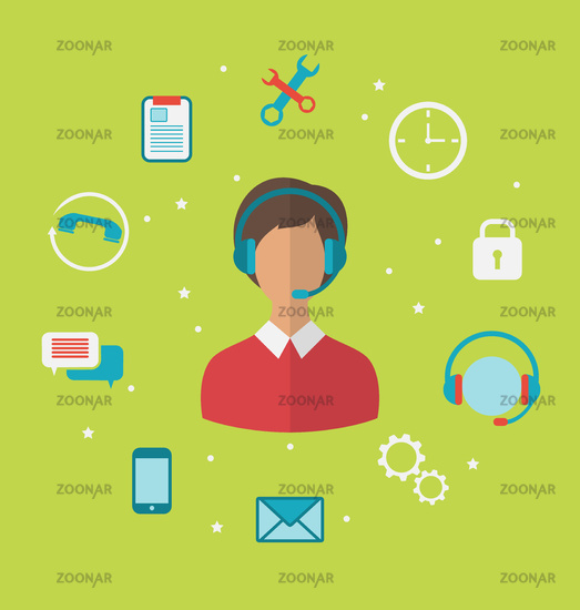 Concept of call center with operator woman in headset , helpdesk service