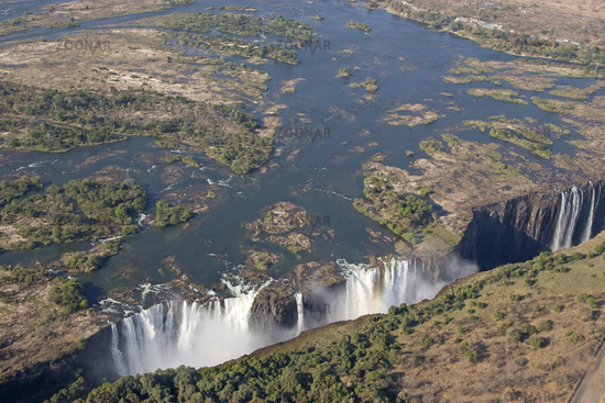 Aerial view of the Victoria Falls, Simbabwe