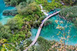 Birds eye view of Plitvice lakes