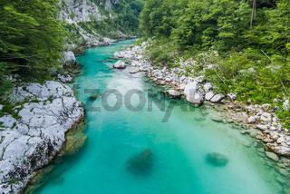 Crystal clear water in river Soca,Triglav,Slovenia