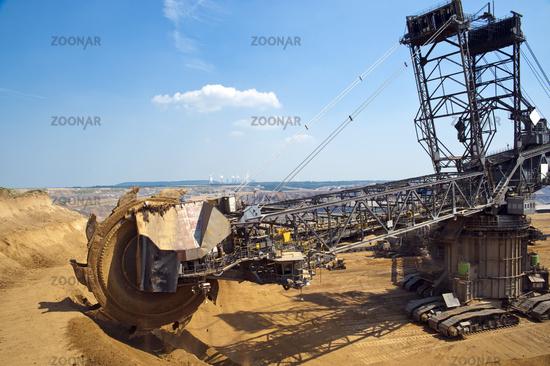 Bucket wheel excavator at the edge of the opencast mine