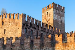 Castelvecchio Castel in Verona city at sunset