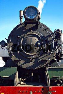 close up of steam train