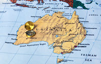 Australia map and compass