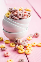 Colorful cereal rings.