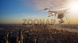 Drone flying over Manhattan