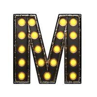 m metal letter with lights. 3D illustration