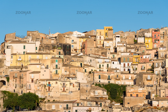 The old town of Ragusa Ibla in Sicily in the last evening light