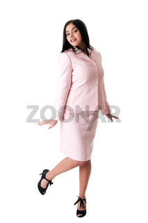 Happy business woman in pink suit