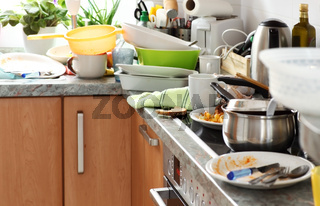 Pile of dirty dishes in the kitchen - Compulsive Hoarding Syndrom