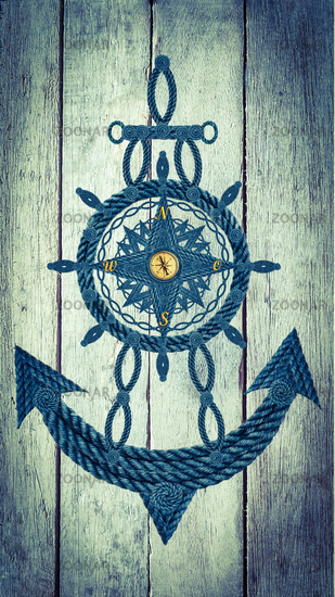 Compass anchor wheel on wood