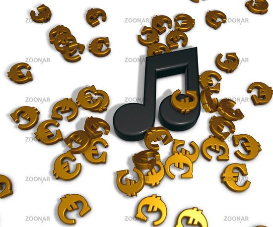 music note and euro symbols - 3d rendering
