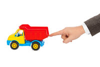 Toy car truck and hand